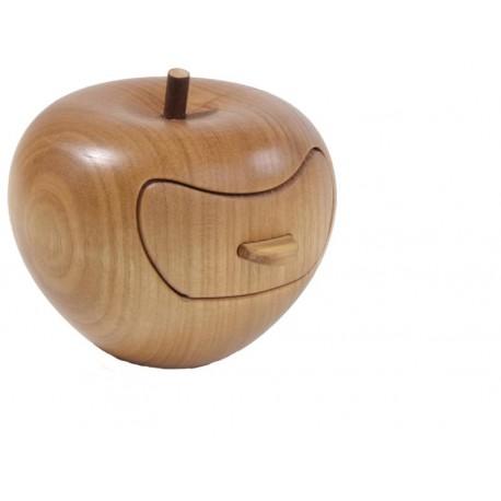 Mela con cassettino scolpita in legno della Val Gardena - Dolfi idee regalo legno, Selva Val Gardena