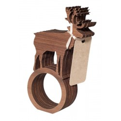 Serviette ring with dear in wood 4 pieces
