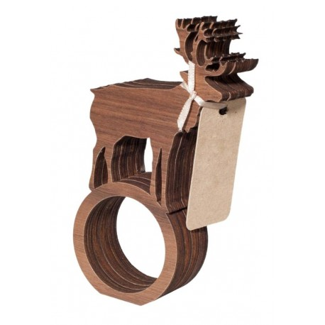 Serviette Napkin Rings with Dear in wood 4 Pieces - Dolfi Gift Ideas - Made in Italy