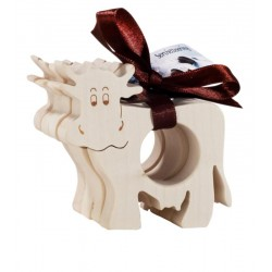 Napkin rings with a cow motif made of maple wood in a set of 4