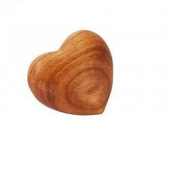 Little heart in apple wood - Hand flatterer, lucky charm, decor - Made from italian master carvers