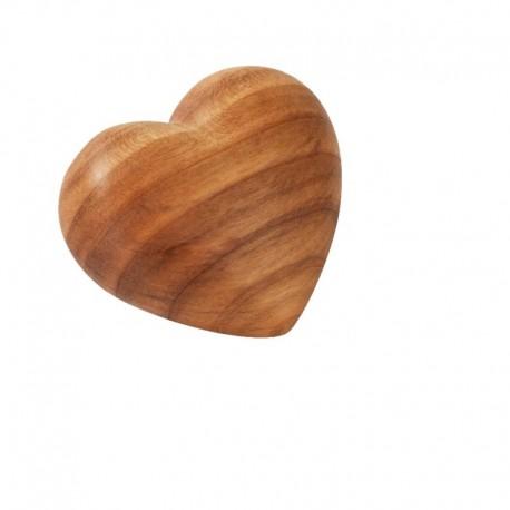 Cuore in legno ornamentale scolpito e levigato 4x3,5cm