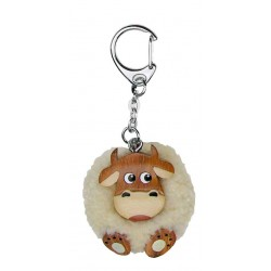 Wooden Cow with wool Pom Pom keyring, Hanger Blank Wooden Key Rings - Made in Italy