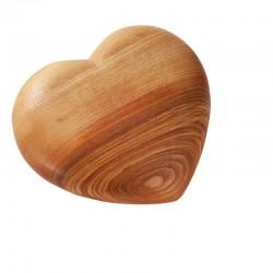 Cuore in legno ornamentale scolpito e levigato 17x14,5cm
