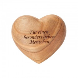 Heart engraved in apple wood - -produced and handmade from Italian artists