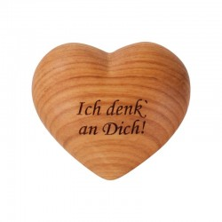 Wooden heart with dedication I think about you - Handmade in the italian Dolomites Alps