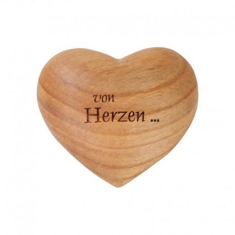 Cuore in legno con dedica in lingua tedesca con il cuore ... - lavorato a mano in Val Gardena