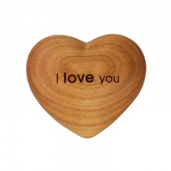 I Love You 3D Wood Heart with Engraving - wood carved gift idea made in Italy