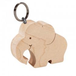 Portachiavi scolpito in legno elefante