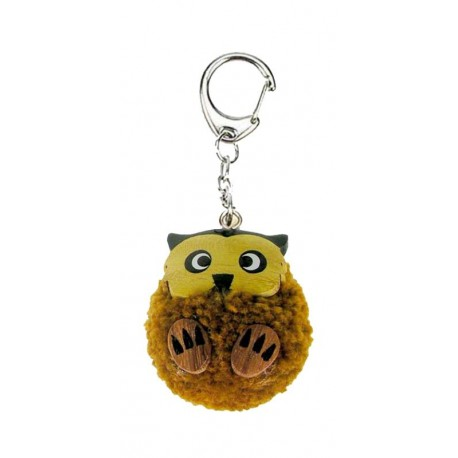 Pompom keychain synthetic wool with wood owl