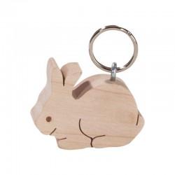 Portachiavi scolpito in legno coniglio