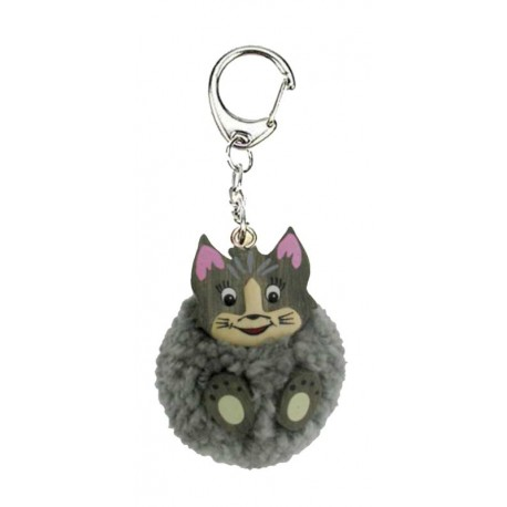 Synthetic wool pompom keyring with wooden cat - handbag hanger