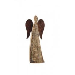 Angelo in corteccia con ali in ferro da 6 cm