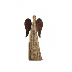 Wood Angel with Metal Wings