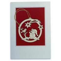Glückwunschkarten; Dolfi Glück-Wunsch-Karten mit Weihnachtsdeko, Original Grödner Holzschnitzereien