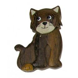 Holz Magnet Katze; Dolfi Holzmagneten aus Südtirol, diese Kreation ist eine edle Grödner Schnitzerei