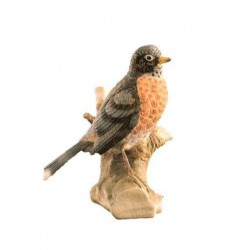 Uccellino spiritoso scolpito in legno