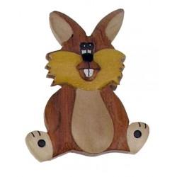 Magnete scolpito Il Coniglio - Dolfi calamite per legno, Val Gardena