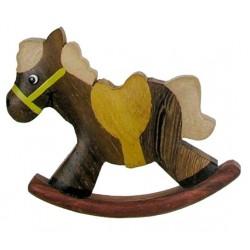 Das Schaukelpferd - Dolfi Holzmagneten Kinder, diese Holzskulptur ist eine edle Grödner Schnitzerei