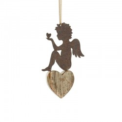 Wrought Iron Angel sitting on Heart to Decorate the Christmas Tree Birthday Gift for Male Friend