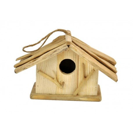 Casetta per uccellini scolpita in legno