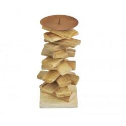 Porta candela alto in legno rustico