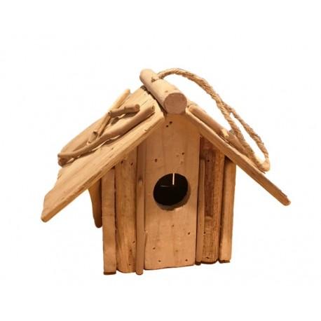 Casetta per uccellini in legno rustico scurito