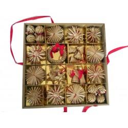56 Stück Stroh Weihnachtsschmuck - Dolfi Christbaumschmuck aus Stroh, Original Grödner Schnitzereien
