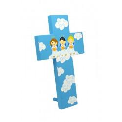 Croce scolpita in legno colorato per bambini