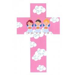 Croce con 3 angeli di colore rosa per bimbi