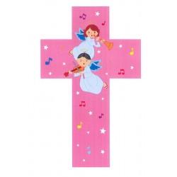Croce scolpita in legno colorato rosa per bambini