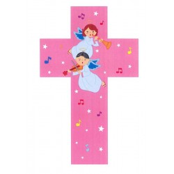 Wooden Cross in Pink with Angels for Girls