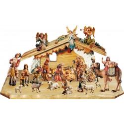 Presepe Matteo da 24 pezzi con capanna - legno colorato in diverse tonalitá di marrone