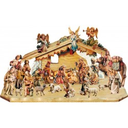 Matteo Nativity 27 Pcs with Stable wood carved Nativity Scene animals - stained 3 col.