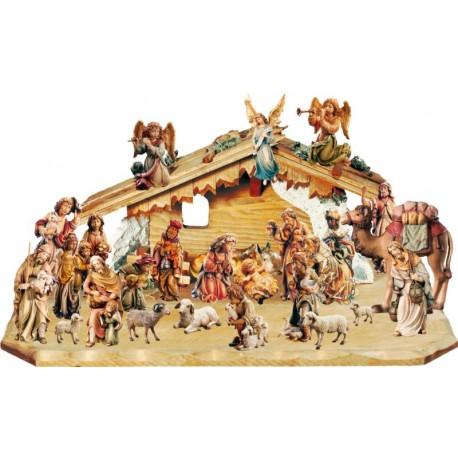Presepe Matteo da 27 pezzi con capanna - legno colorato in diverse tonalitá di marrone