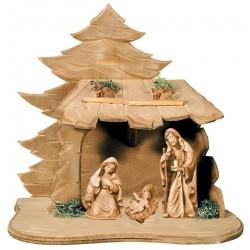 Sacra Famiglia con capanna finemente scolpita in legno - legno colorato in diverse tonalitá di marrone