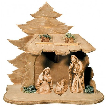 Holy Family with Stable in wood carved - stained 3 col.