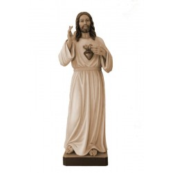 Sacred Heart of Jesus Christ Mercy wood Carving Statue Made in Val Gardena Italy - Made in Italy - oil colors