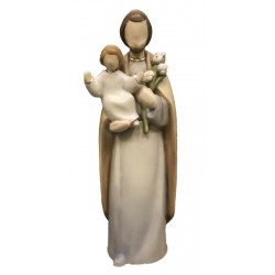 Saint Joseph with Baby Jesus Child wood carved in Modern Design - Dolfi small Religious Statues - oil colors