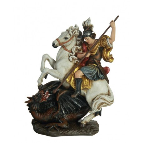 St George in Paste of wood - Dolfi Roman Catholic Church Statues - Made in Italy