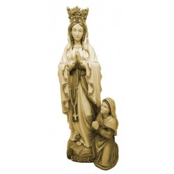Our Lady of Lourdes with Crown, Bernadette in wood - stained 3 col.