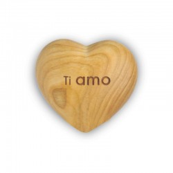 Wood Heart Engraved - Ti Amo - I Love You, Love is What We Would Like to Give to Man and Woman