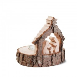 Tea Light Holder with carved Nativity in Pine wood with Bark - Dolfi Present Gift - Made in Italy