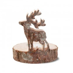 Tea Light Holder with carved Deer in Pine wood with Bark Fathers Day Presents - Made in Italy