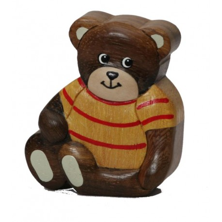 The collectible wood carved Teddy Bear - Dolfi Wooden Christmas Gifts to Make - Made in Italy