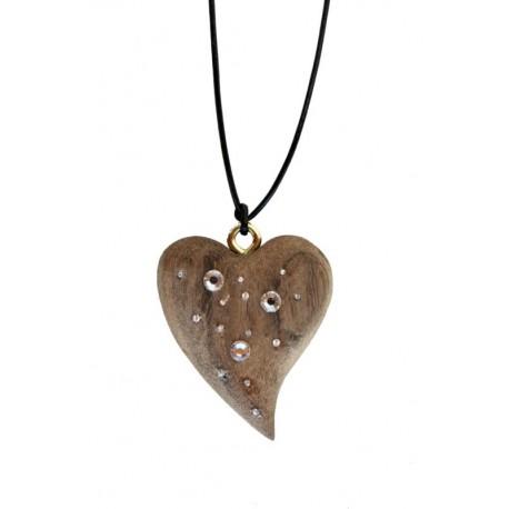 Halsband Herz weiss mit Swarowsti Kristall