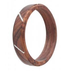 Armband Weiß mit Swarovski Kristalle - Dolfi Holz Kettenanhänger, Original Grödner Holzschnitzereien