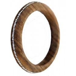Nussbaumholz-Armband mit weißen Swarovski Kristallen, Dolfi Kettenanhänger aus Holz, aus Südtirol