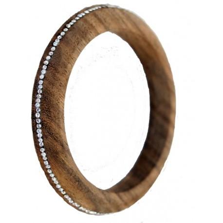 Nussbaumholz-Armband mit weissen Swarovski Kristallen