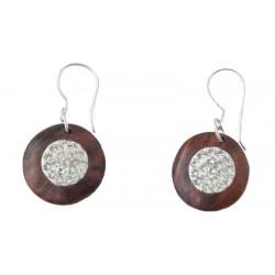 Nussbaumholz-Ohrringe mit weissen Swarovski Kristallen